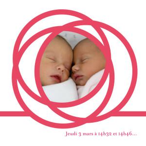 Faire-part de naissance Spirale 4 photos framboise