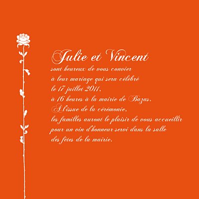 Faire-part de mariage Fleur de lotus orange finition