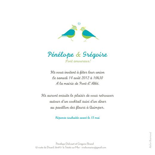 Faire-part de mariage Couple-oiseaux-bleu