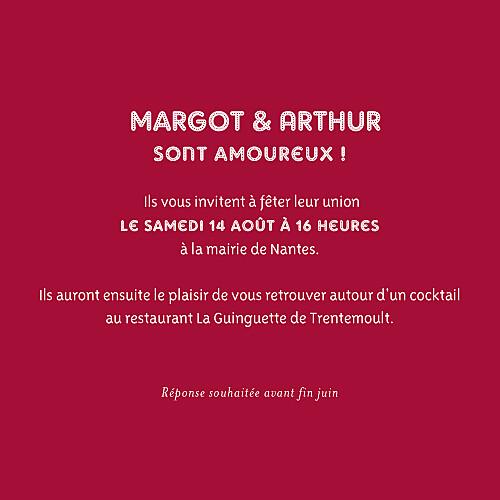 Faire-part de mariage Amour (4 pages) rouge - Page 3