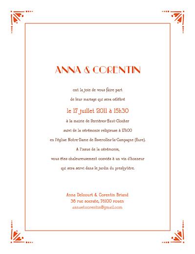 Faire-part de mariage Art déco orange - Page 1