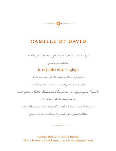 Faire-part de mariage Tout simple orange - Page 1