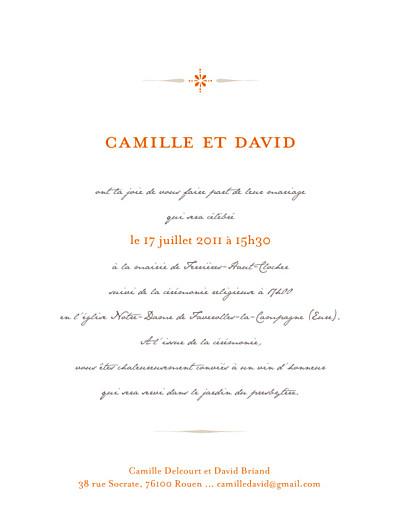 Faire-part de mariage Tout simple orange - Page 1