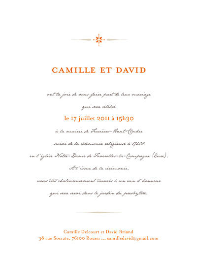 Faire-part de mariage Tout simple orange finition