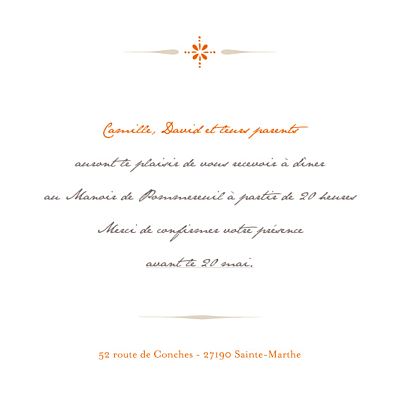 Carton d'invitation mariage Tout simple orange finition