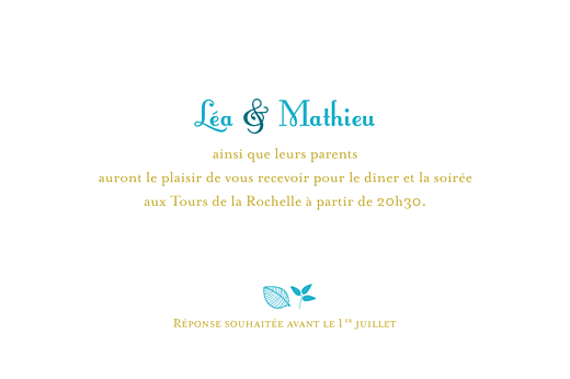 Carton d'invitation mariage Forêt bleu - Page 1