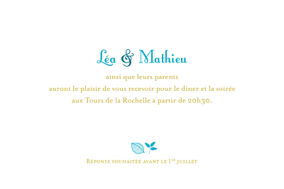 Carton d'invitation mariage Forêt bleu finition