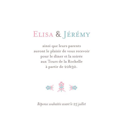 Carton d'invitation mariage Sweet rose bleu - Page 1