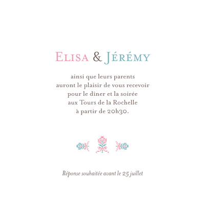 Carton d'invitation mariage Sweet rose bleu finition