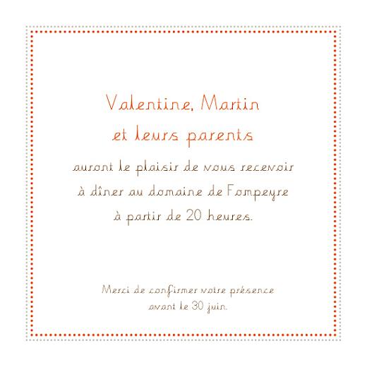Carton d'invitation mariage Initiales orange - Page 1