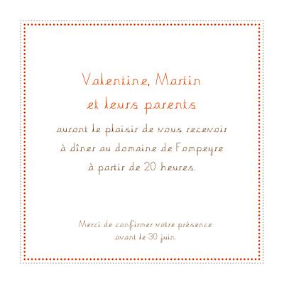 Carton d'invitation mariage Initiales orange finition
