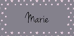 Marque-place Baptême Nuit étoilée gris rose