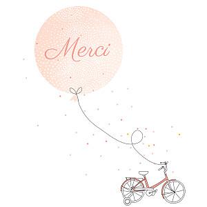 Carte de remerciement jouets merci à bicyclette photo corail
