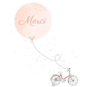 Carte de remerciement Merci à bicyclette photo corail