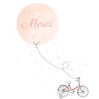 Carte de remerciement Merci à bicyclette photo corail finition