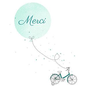 Carte de remerciement vert merci à bicyclette photo vert