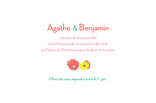 Carton d'invitation mariage Flower power corail - Page 1