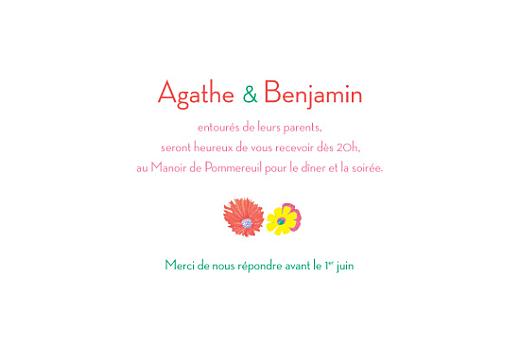 Carton d'invitation mariage Flower power corail