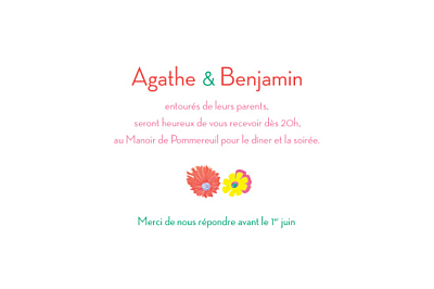 Carton d'invitation mariage Flower power corail finition
