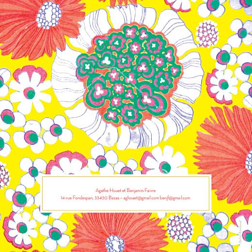 Faire-part de mariage Flower power corail - Page 2