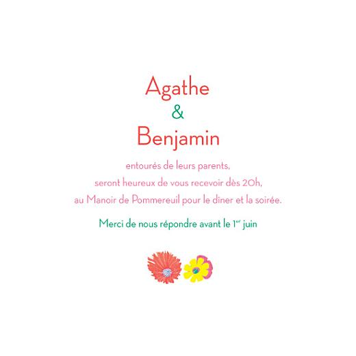 Carton d'invitation mariage Flower power carre