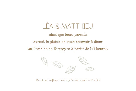 Carton d'invitation mariage Nature taupe - Page 1