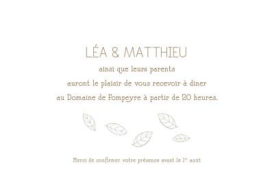 Carton d'invitation mariage Nature taupe finition