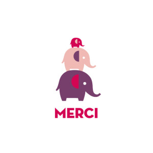 Carte de remerciement Merci éléphants fille violet