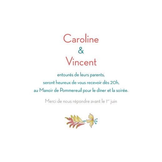 Carton d'invitation mariage Floral carré vert - Page 1