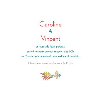 Carton d'invitation mariage Floral carré vert finition