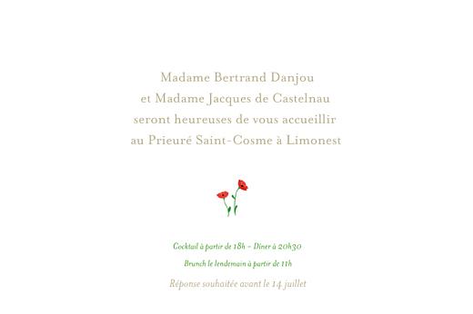 Carton d'invitation mariage Coquelicots blanc - Page 1
