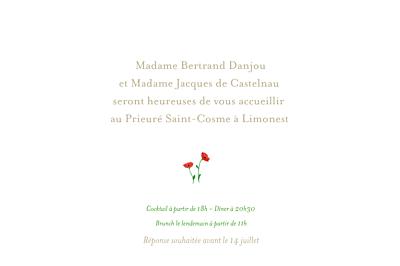 Carton d'invitation mariage Coquelicots blanc finition