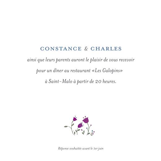 Carton d'invitation mariage Floraison blanc