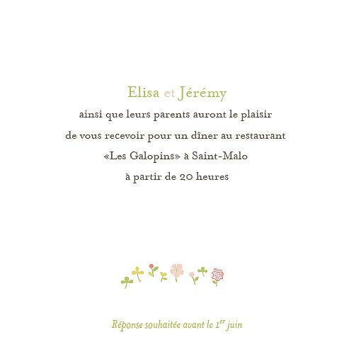 Carton d'invitation mariage Romance fleurs