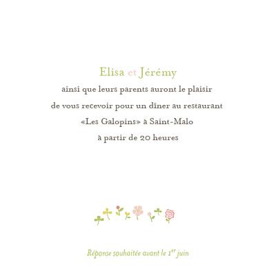 Carton d'invitation mariage Romance fleurs finition