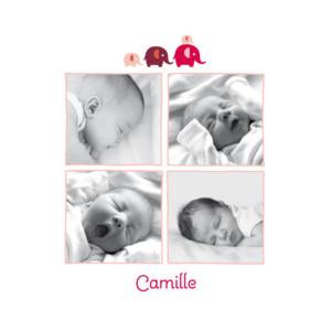 Faire-part de naissance 4-elephants-5-photos rose