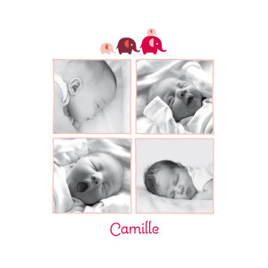 Faire-part de naissance 4-elephants-5-photos rose