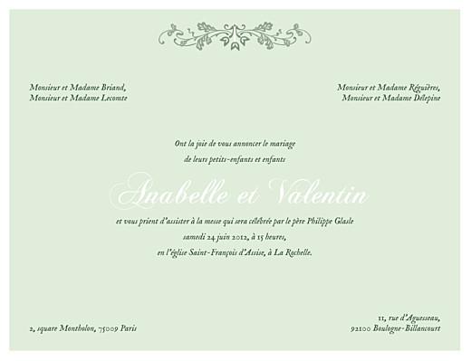 Faire-part de mariage Charme vert