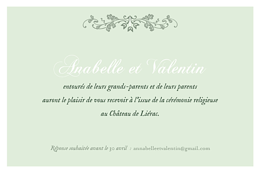 Carton d'invitation mariage Charme vert - Page 1