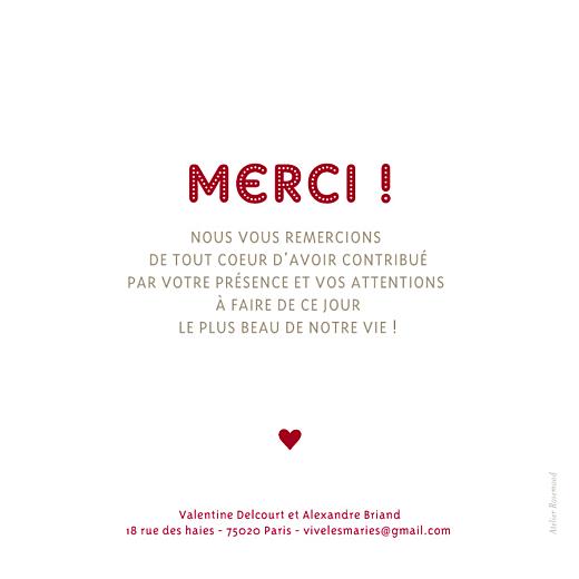 Carte de remerciement mariage Amour rouge - Page 2