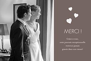 Carte de remerciement mariage Coeurs cappuccino