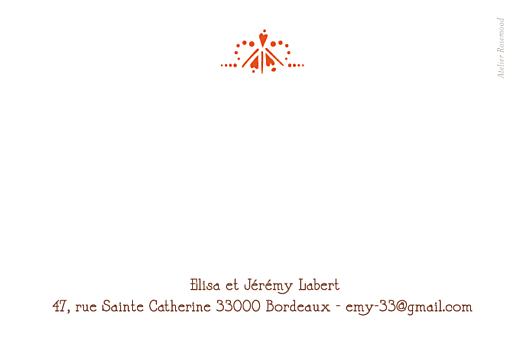 Carte de remerciement mariage Art déco vermillon - Page 2