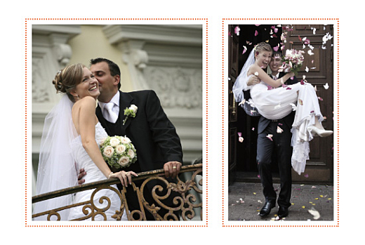 Carte de remerciement mariage Initiales 2 photos orange
