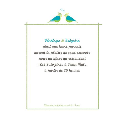 Carton d'invitation mariage Couple d'oiseaux vert - Page 1