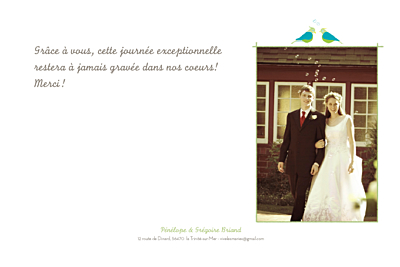 Carte de remerciement mariage Couple d'oiseaux vert finition