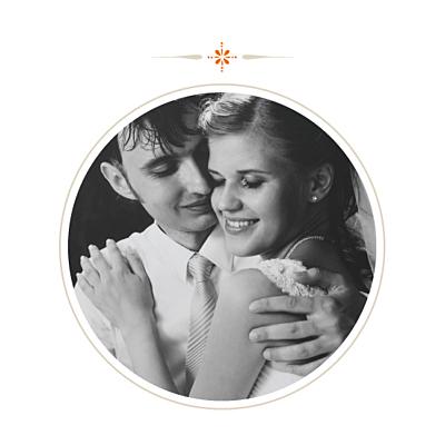 Carte de remerciement mariage Tout simple merci orange finition