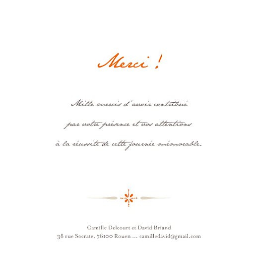 Carte de remerciement mariage Tout simple merci orange - Page 2