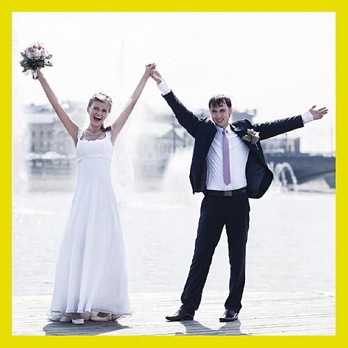 Carte de remerciement mariage Pop art cadre vert