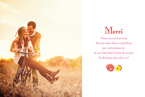 Carte de remerciement mariage Flower power corail