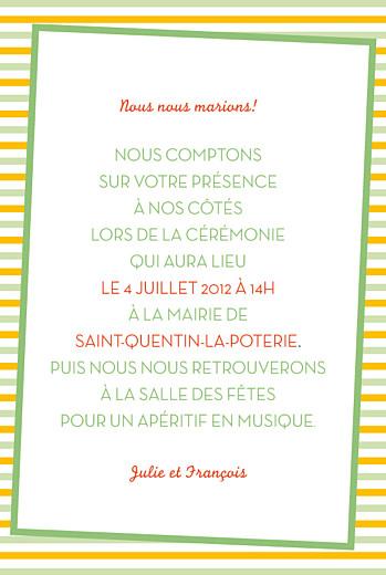Carton d'invitation mariage Festivité vert